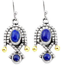 5.09cts victorian natural blue lapis lazuli 925 silver two tone earrings p56132