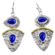 6.55cts victorian natural blue lapis lazuli 925 silver two tone earrings p56150