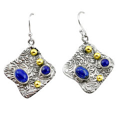 5.42cts victorian natural blue lapis lazuli 925 silver two tone earrings p56188