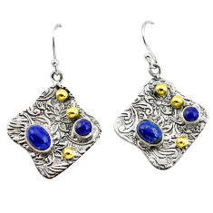 5.22cts victorian natural blue lapis lazuli 925 silver two tone earrings p56190