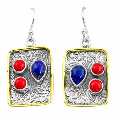 6.33cts victorian natural blue lapis lazuli 925 silver two tone earrings p56221