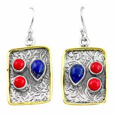 6.18cts victorian natural blue lapis lazuli 925 silver two tone earrings p56222