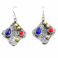 4.69cts victorian natural blue lapis lazuli 925 silver two tone earrings p56261