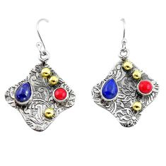 4.73cts victorian natural blue lapis lazuli 925 silver two tone earrings p56262