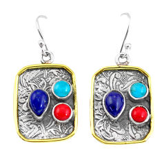 6.48cts victorian natural blue lapis lazuli 925 silver two tone earrings p56361