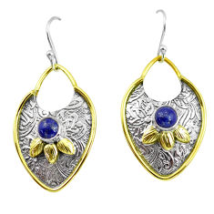 2.10cts victorian natural blue lapis lazuli 925 silver two tone earrings p56413