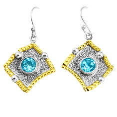 2.63cts victorian natural blue topaz 925 silver two tone dangle earrings p37771