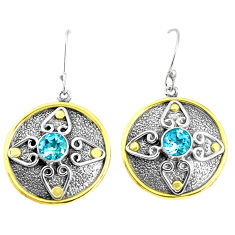 2.90cts victorian natural blue topaz 925 silver two tone dangle earrings p50183