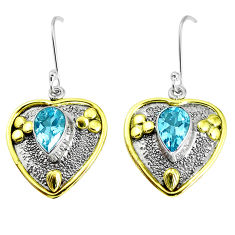 5.82cts victorian natural blue topaz 925 silver two tone dangle earrings p50203