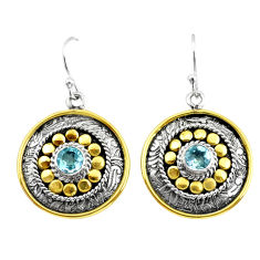 2.10cts victorian natural blue topaz 925 silver two tone dangle earrings p55667