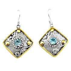 2.10cts victorian natural blue topaz 925 silver two tone dangle earrings p55680