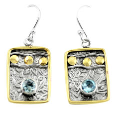 2.11cts victorian natural blue topaz 925 silver two tone dangle earrings p55706