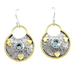 2.21cts victorian natural blue topaz 925 silver two tone dangle earrings p55728