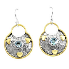 2.44cts victorian natural blue topaz 925 silver two tone dangle earrings p55730