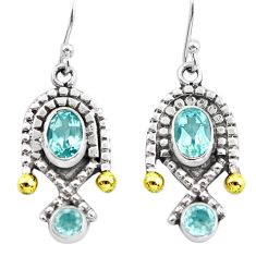 5.11cts victorian natural blue topaz 925 silver two tone dangle earrings p56123