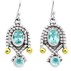 4.93cts victorian natural blue topaz 925 silver two tone dangle earrings p56126