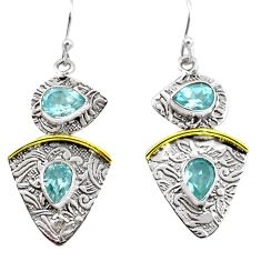 6.55cts victorian natural blue topaz 925 silver two tone dangle earrings p56141