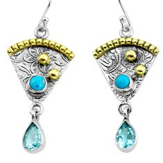 5.12cts victorian natural blue topaz 925 silver two tone dangle earrings p56254