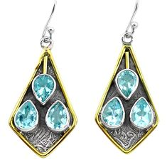 10.33cts victorian natural blue topaz 925 silver two tone dangle earrings p56305
