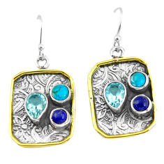 6.80cts victorian natural blue topaz 925 silver two tone dangle earrings p56368