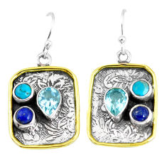6.57cts victorian natural blue topaz 925 silver two tone dangle earrings p56372
