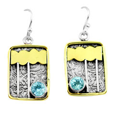 2.36cts victorian natural blue topaz 925 silver two tone dangle earrings p56386