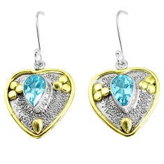6.02cts victorian natural blue topaz 925 silver two tone heart earrings p37742