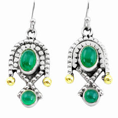 4.93cts victorian natural green chalcedony 925 silver two tone earrings p56129