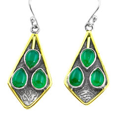 9.72cts victorian natural green chalcedony 925 silver two tone earrings p56306