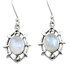 6.03cts victorian natural rainbow moonstone 925 silver dangle earrings p55756