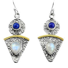 4.46cts victorian natural rainbow moonstone 925 silver two tone earrings p56217