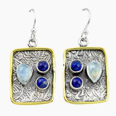 6.57cts victorian natural rainbow moonstone 925 silver two tone earrings p56239