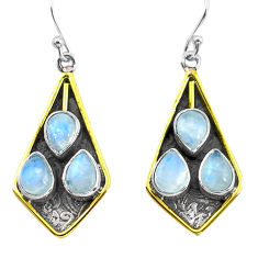 9.39cts victorian natural rainbow moonstone 925 silver two tone earrings p56317