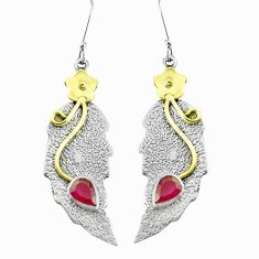 3.98cts victorian natural red ruby 925 silver two tone heart earrings p37752