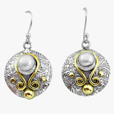 2.94cts victorian natural white pearl 925 silver two tone dangle earrings p56169
