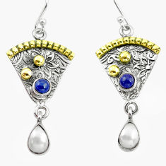 4.92cts victorian natural white pearl 925 silver two tone dangle earrings p56243