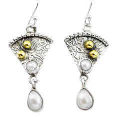 4.70cts victorian natural white pearl 925 silver two tone dangle earrings p56281