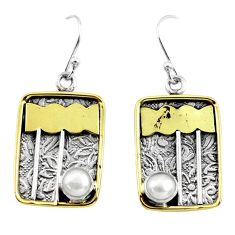 2.35cts victorian natural white pearl 925 silver two tone dangle earrings p56382