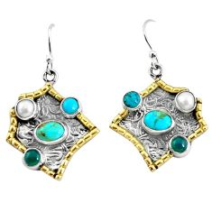 7.37cts victorian sleeping beauty turquoise 925 silver two tone earrings p56350