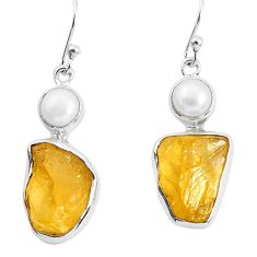 13.77cts yellow citrine rough pearl 925 sterling silver dangle earrings p51802