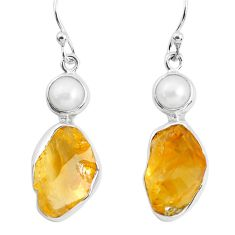 12.96cts yellow citrine rough pearl 925 sterling silver dangle earrings p51809