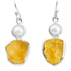 15.31cts yellow citrine rough pearl 925 sterling silver dangle earrings p51813