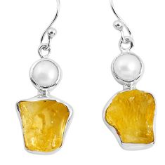14.23cts yellow citrine rough pearl 925 sterling silver dangle earrings p51814