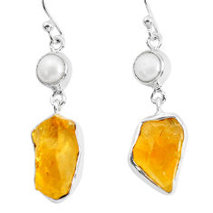 14.72cts yellow citrine rough pearl 925 sterling silver dangle earrings p51816