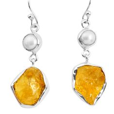 14.61cts yellow citrine rough pearl 925 sterling silver dangle earrings p51817
