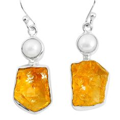 16.43cts yellow citrine rough pearl 925 sterling silver dangle earrings p51820