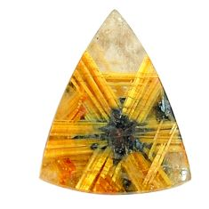 Faceted 7.40cts half star rutile golden 15x12 mm trillion loose gemstone s12930