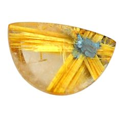Faceted 8.45cts half star rutile golden 16x10.5 mm fancy loose gemstone s12935