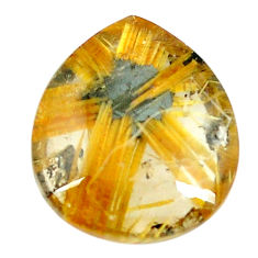Faceted 9.45cts half star rutile golden 16x13.5 mm pear loose gemstone s12909
