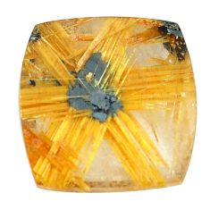 Faceted 12.40cts half star rutile golden 16x15 mm octagan loose gemstone s12907